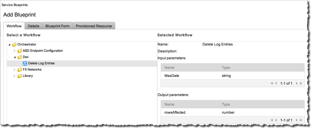 Add a new Service Blueprint by browsing through the vCO folder structure for your workflow