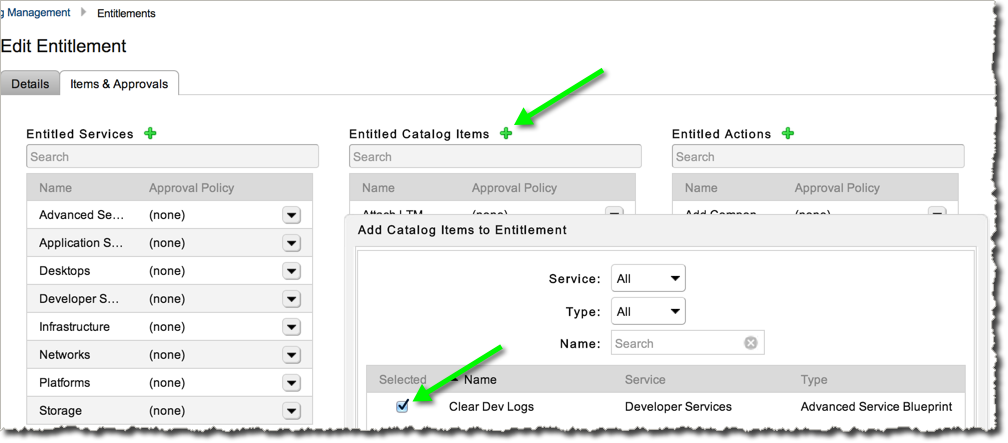 """Go to """"Entitlements"""", select the Entitlement Group you created (or create one) and add this Catalog Item."""
