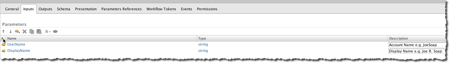 Create inputs on your Workflow: UserName (string) and DisplayName (string)
