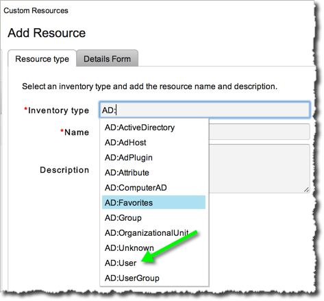 "Select the vCO defined ""AD:User"" type as our Resource Type."
