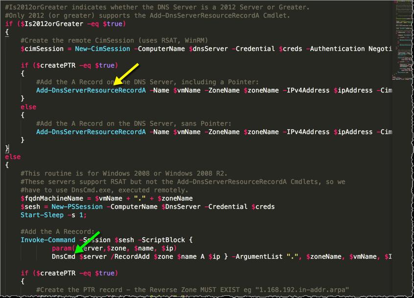DNS Powershell script excerpt