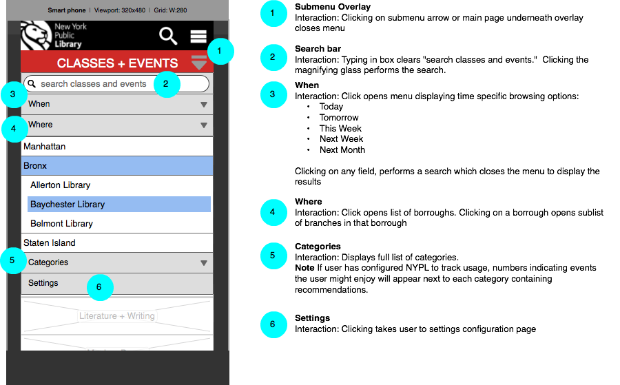 Menu view with explanations for prototype mobile listings site