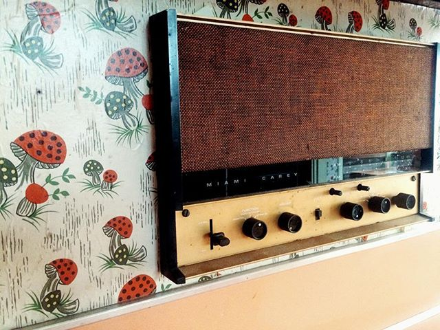 Who doesn't #love a good Miami Carey brand, built-in intercom in their #house ? So #modern ! #vintage #decor #mushroomwallpaper #notcute #omg #funny #oldskool #retro