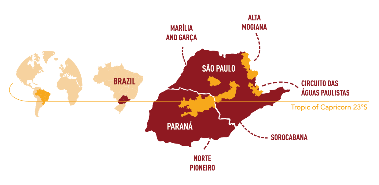 All the regions that Capricornio's 20 partners are located. They call this the Capricornio coffee belt.