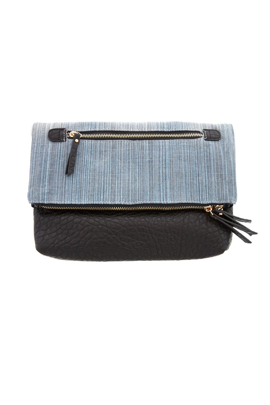 Denim and faux leather accessories create casual yet attractive look!