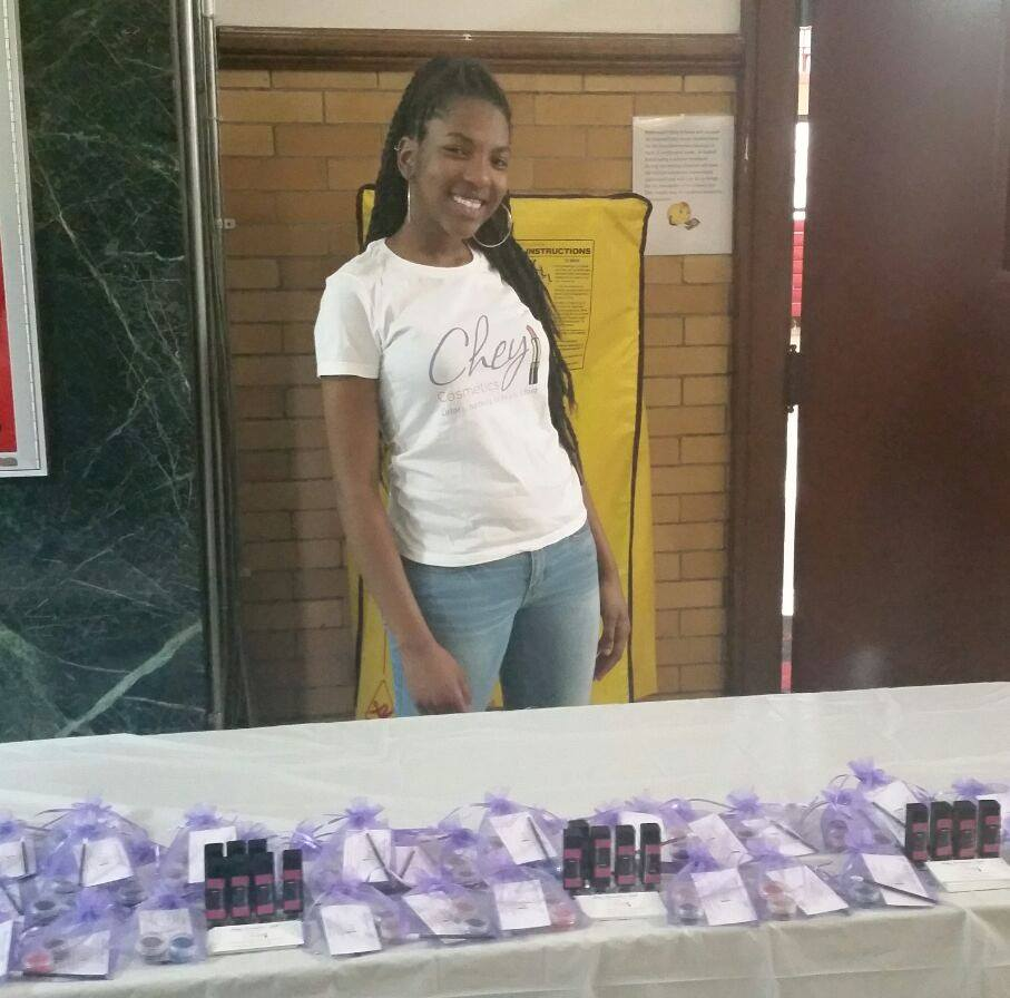 Destinee Joyner, 17, owner of Chey Cosmetics, LLC. posed pretty with her all natural handmade lipsticks.