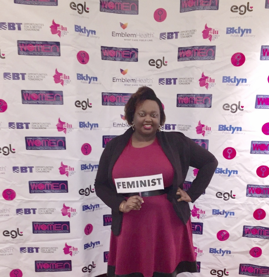 "Me at the 3rd Annual Shirley Chisholm's Women of Distinction Awards. It took me a long time to agree to carry the title of ""Feminist"" because of how far it has strayed  BUT  I refuse to let it deter me anymore. I AM A FEMINIST. I STAND FOR WOMEN'S EMPOWERMENT AND SUCCESS."