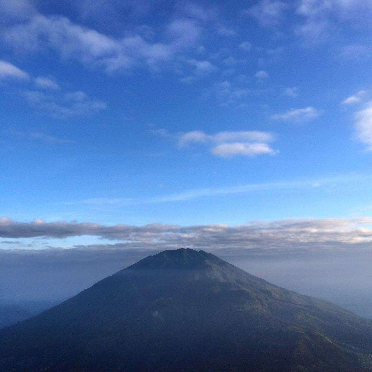 Mount Merbabu as seen from Mount Merapi's Pasar Bubrah