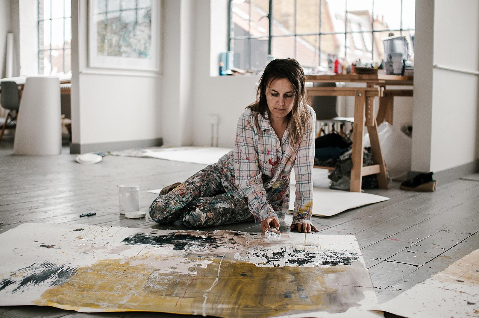 Harriet working in her London studio