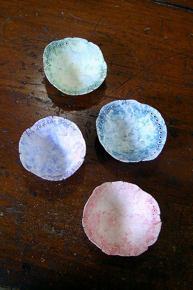 stained earthenware pinch pots, top