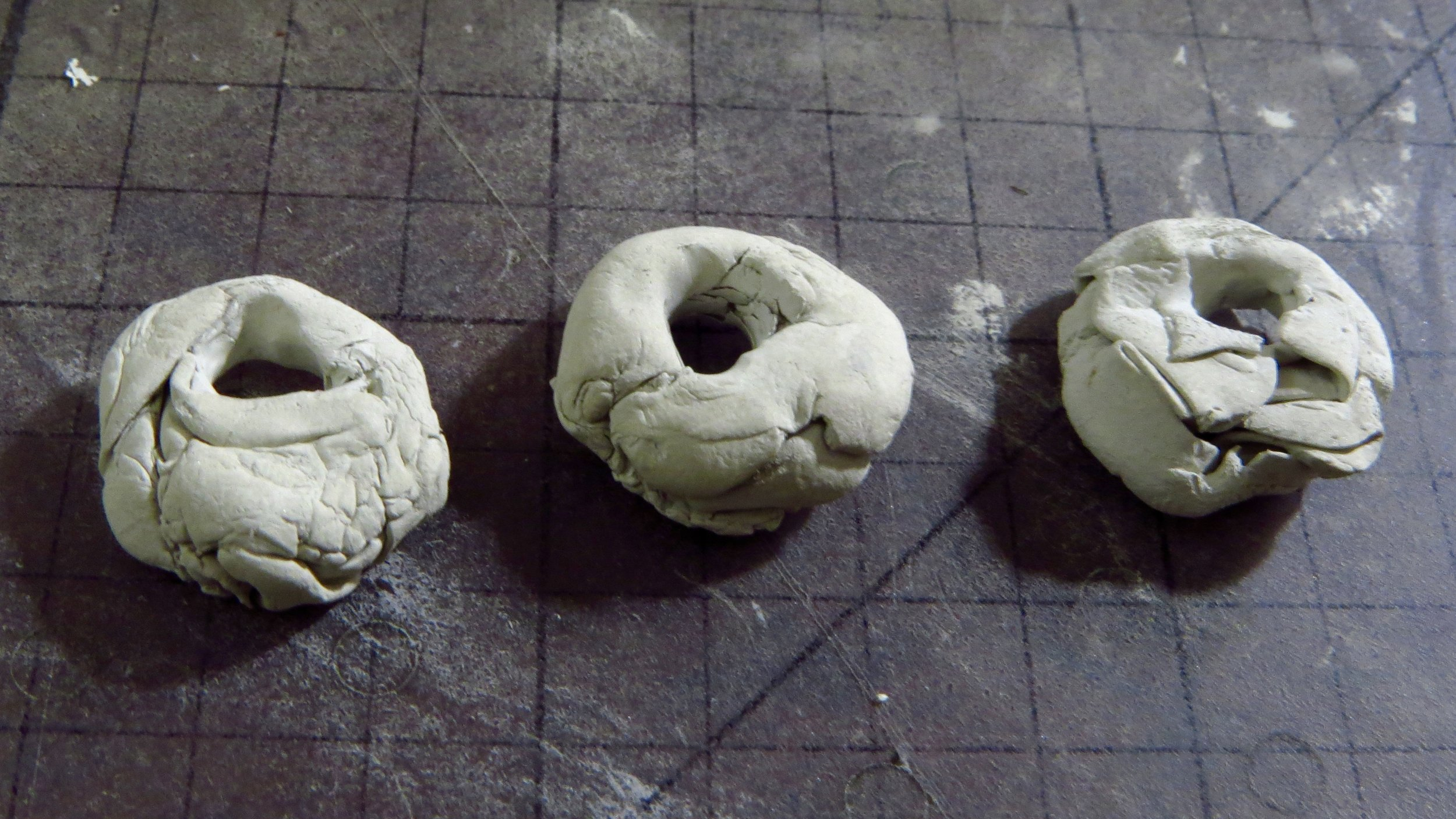 a trio of rustic nuggets ready for firing ...