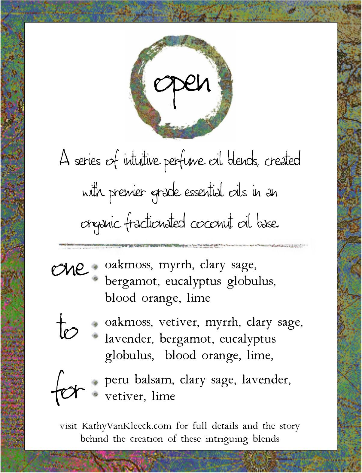 """Open"" series perfume samples info card"