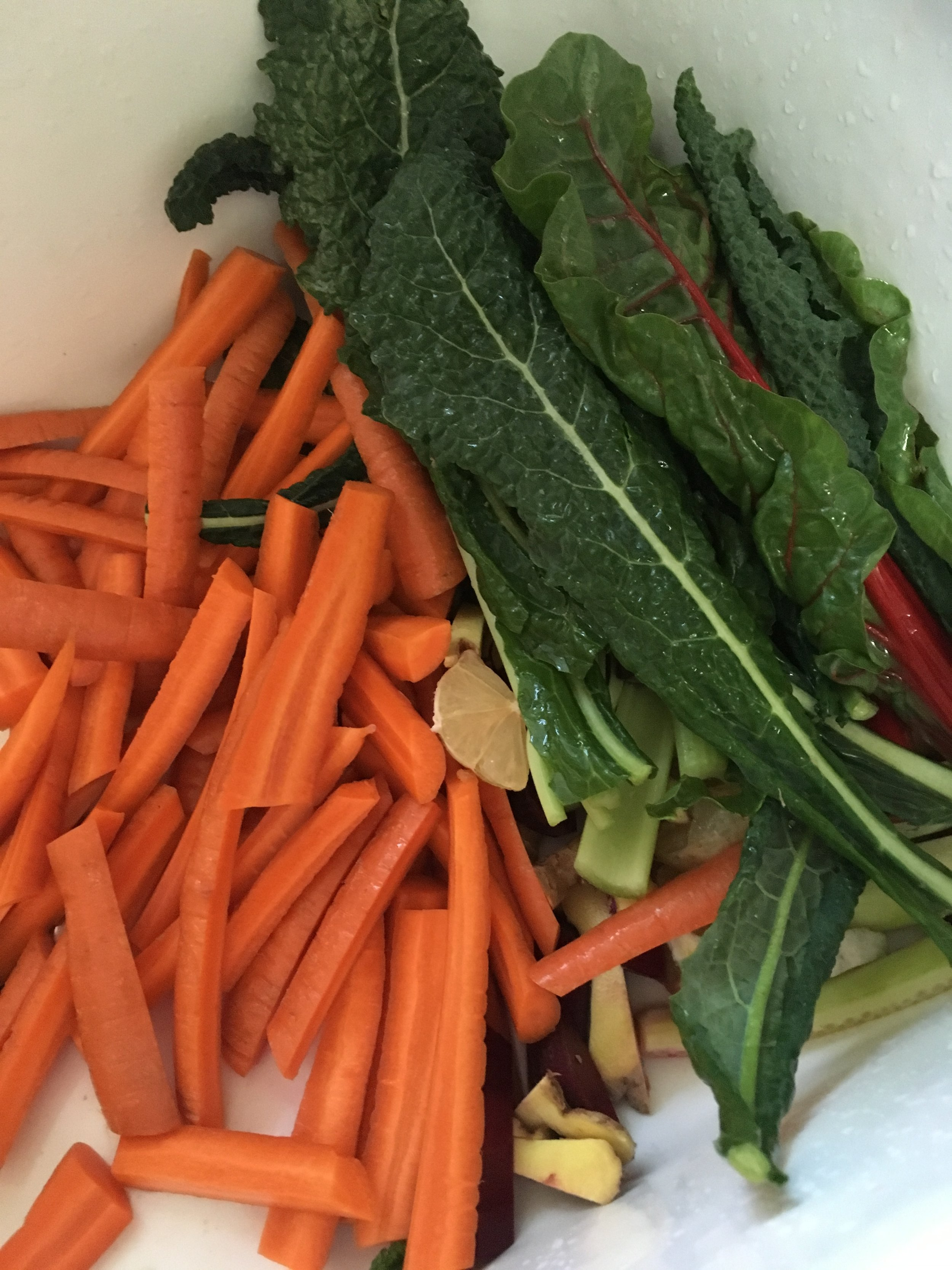 """""""kitchen sink"""" juice ... I literally fill up the kitchen sink with veggies!"""