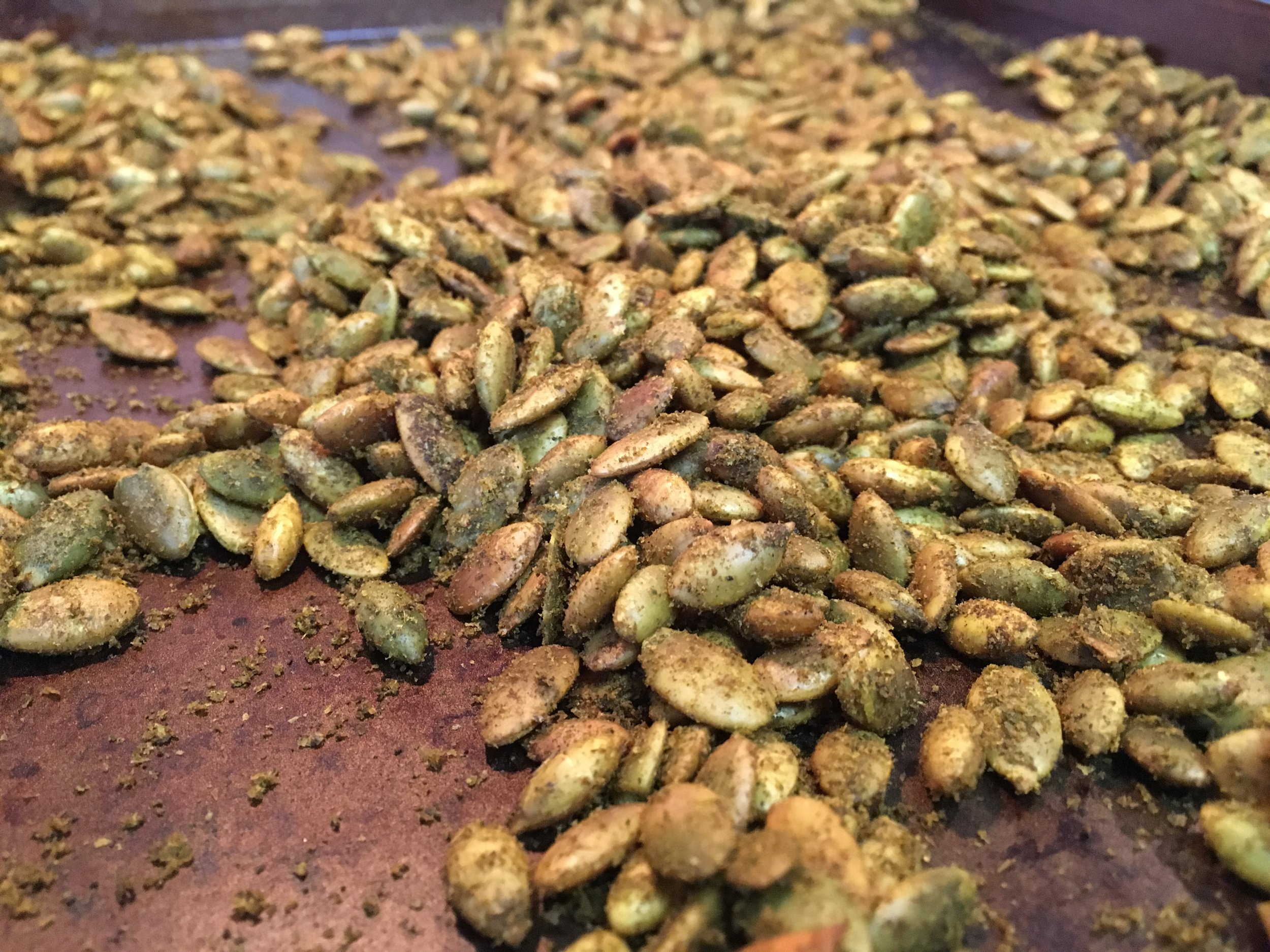 spiced pumpkin seeds ... super yummy and good for you!