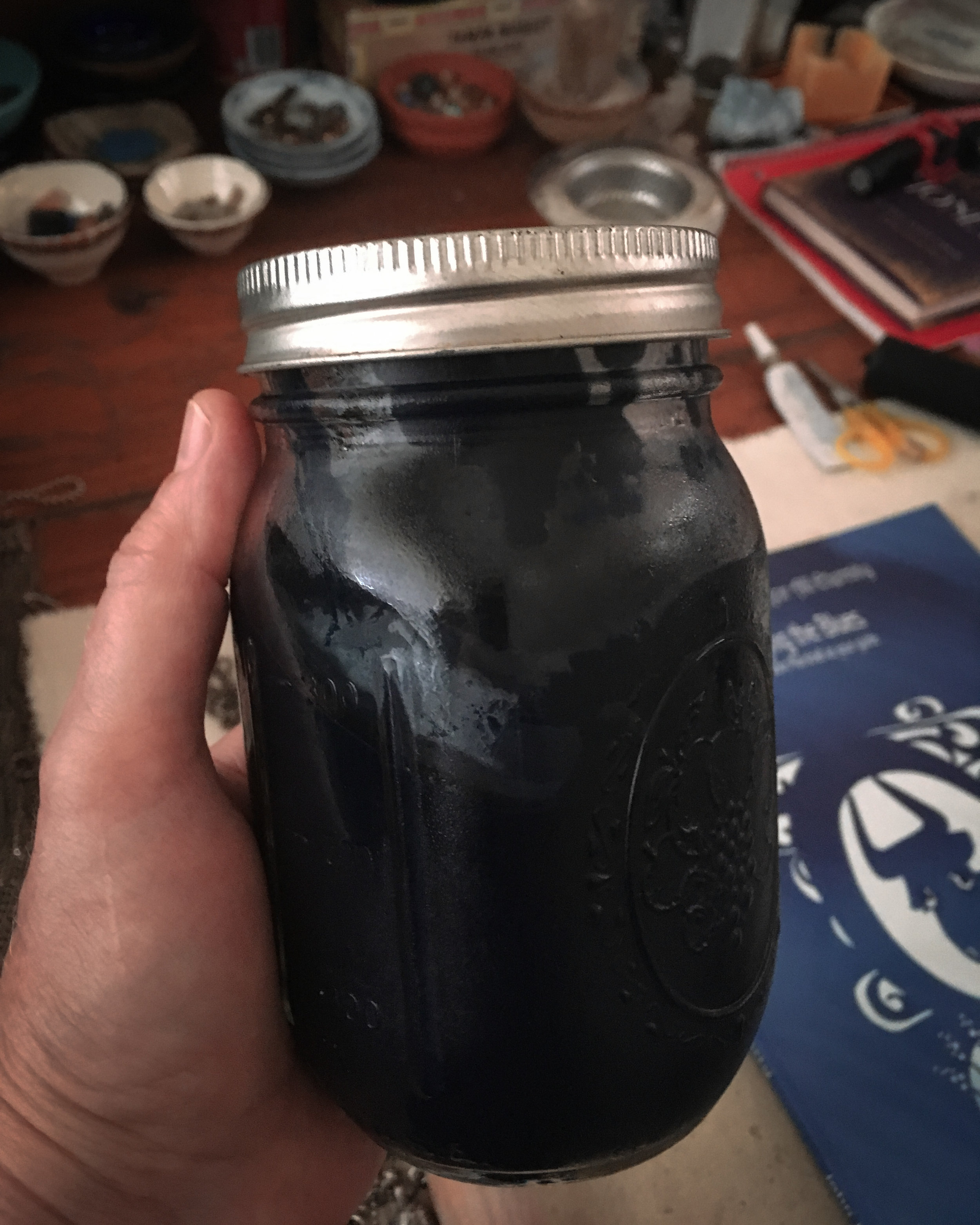 a full pint of extracted indigofera suffruticosa dye paste