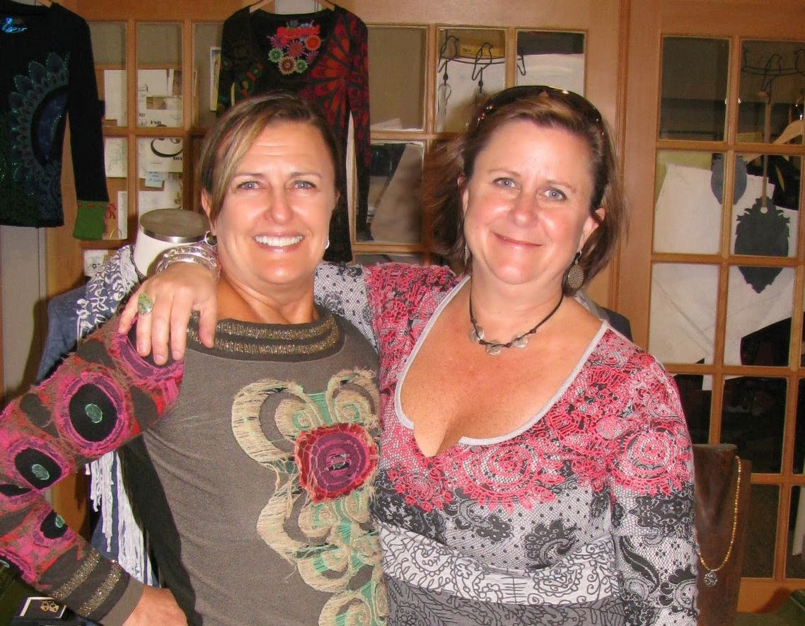 Annette with BFF  Shelly Williams  who played a big part in helping Annette launch her line of yogawear