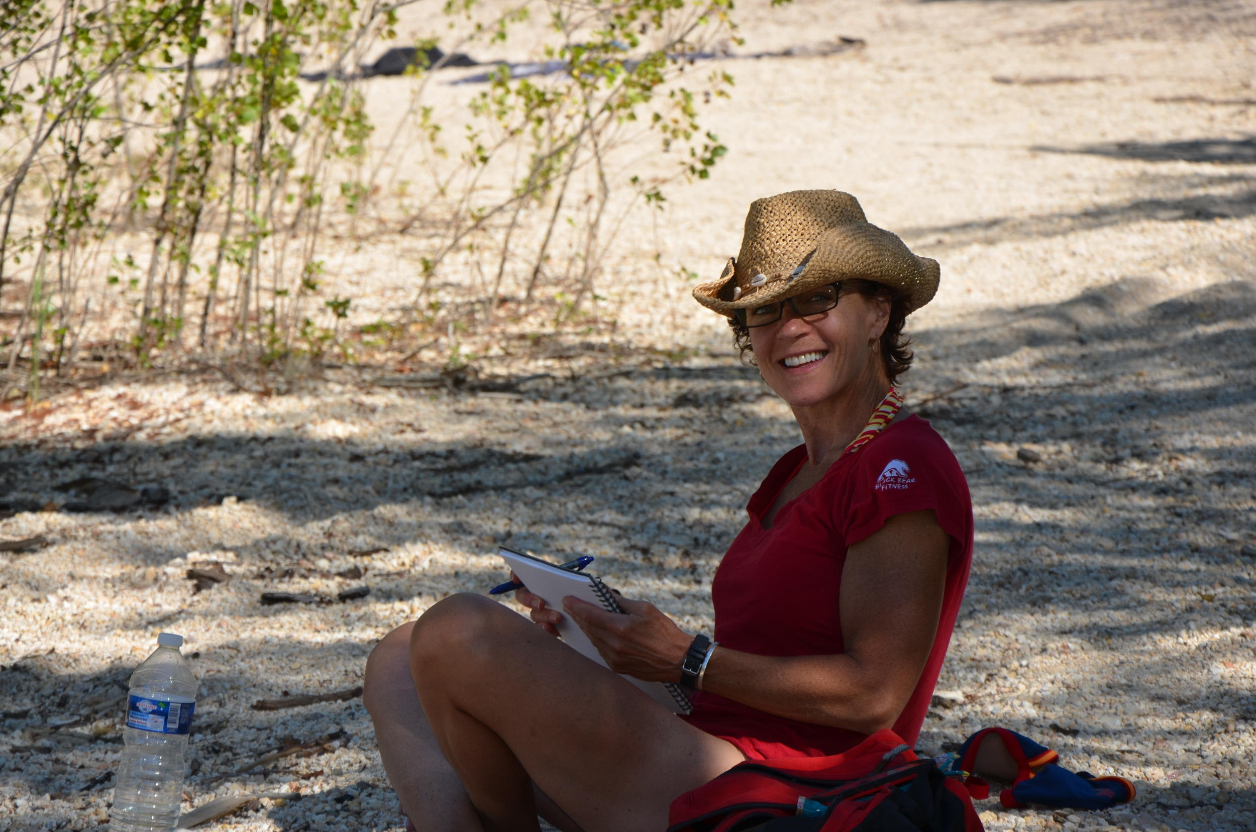 Laura really does stop and chill. Here she is, journalling in France and in the shade at  Le Lac du Verdon