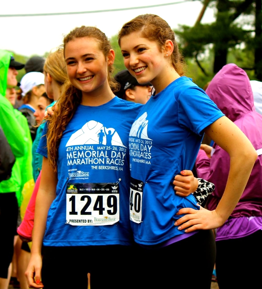 Grace Ellrodt and Caroline Wilkerson, after a Half-Marathon, 2013