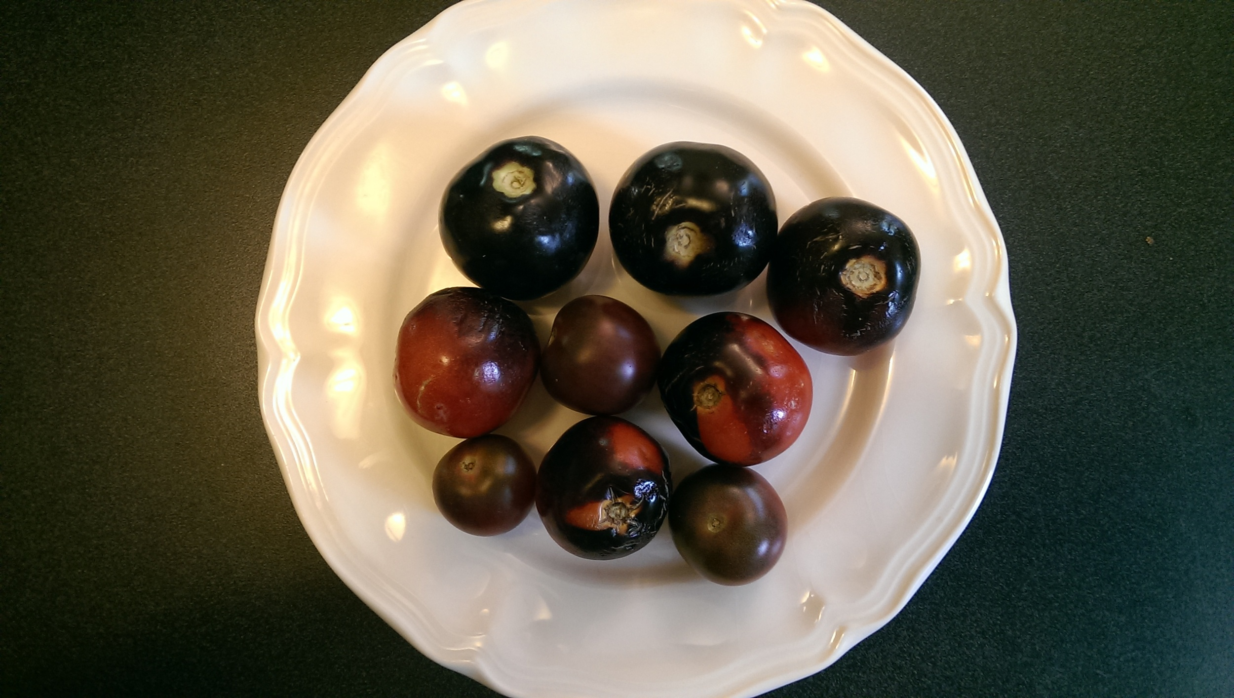 This is not your ordinary tomato! It looks like a plum, but these Indigo Rose and Black Cherry tomatoes from Peace Haven Farm in Becket, MA are delicious and loaded with lycopene.