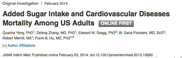 Added Sugar Intake - link to research and JAMA article