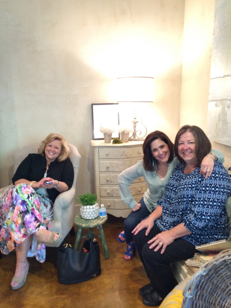 Brigitte, far right, with Cathy and client/friend Susie, hanging out at the studio.