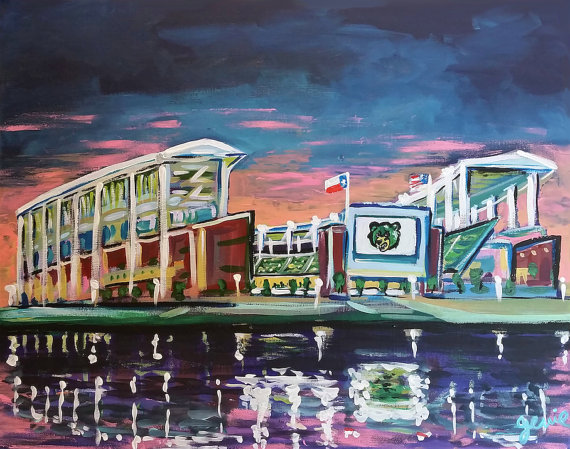 Custom original painting of McLane Stadium by Genie Mack