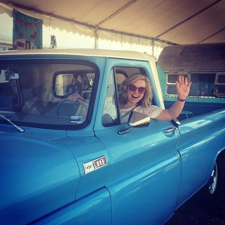 Courtney in an antique truck at Blue Hills