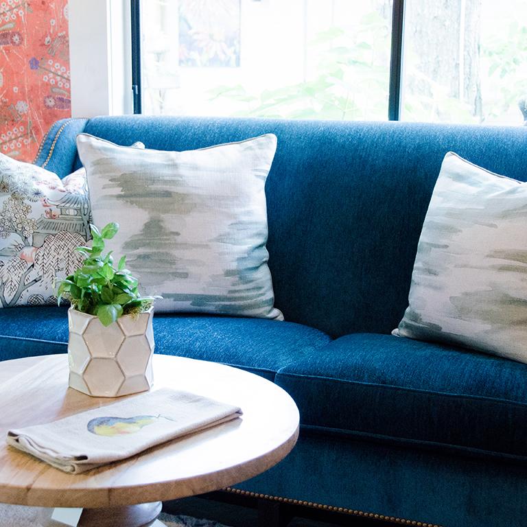 Teal Vintage Chenille Sofa: $2,500