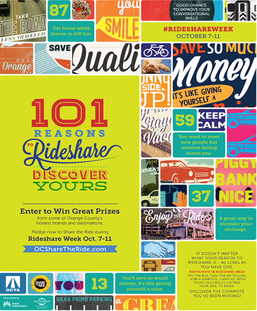 "OCTA Rideshare Week ""101 Reasons to Rideshare"" campaign"
