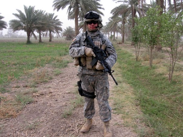 Conducting a cordon and search in a palm grove south of Baghdad as Commander of Troop E, 108th Cavalry.