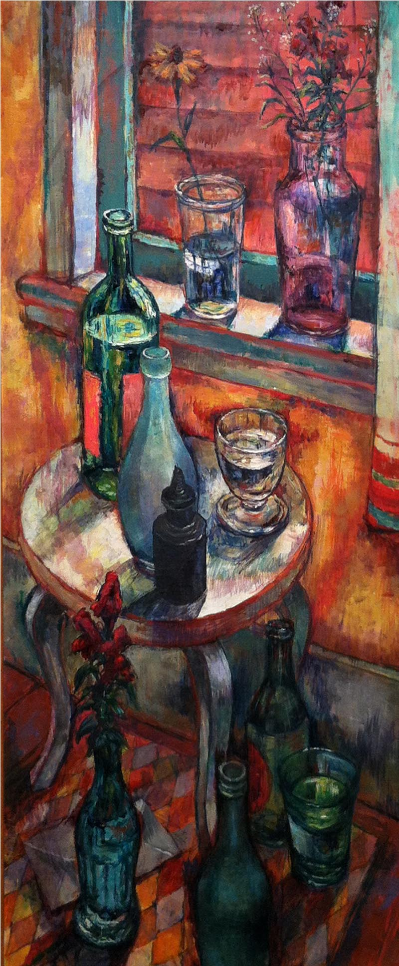 Bottles and Flowers,  c. 1955 oil on canvas, 36 x 15 inches
