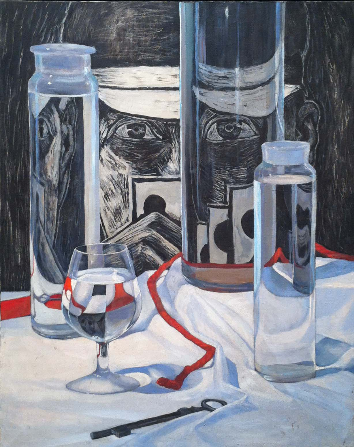 Reflected Card Player, 1987 oil on canvas, 30 x 24 inches