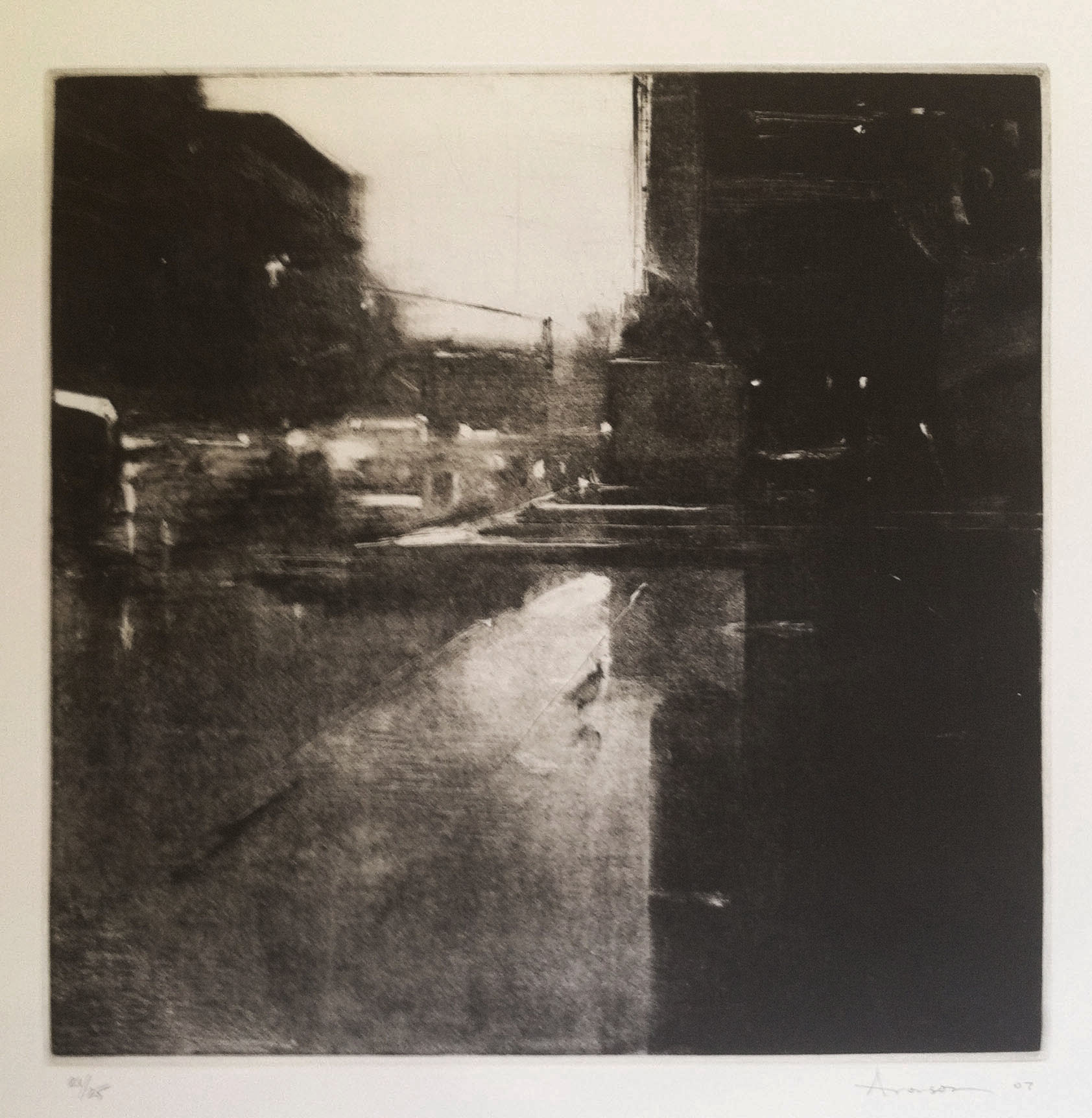 Rain, Copley Square,  2007 intaglio etching & aquatint, ed. 25 Fabriano Rosapina 12 x 12 inches (image), 28 x 19 1/2 inches (paper)