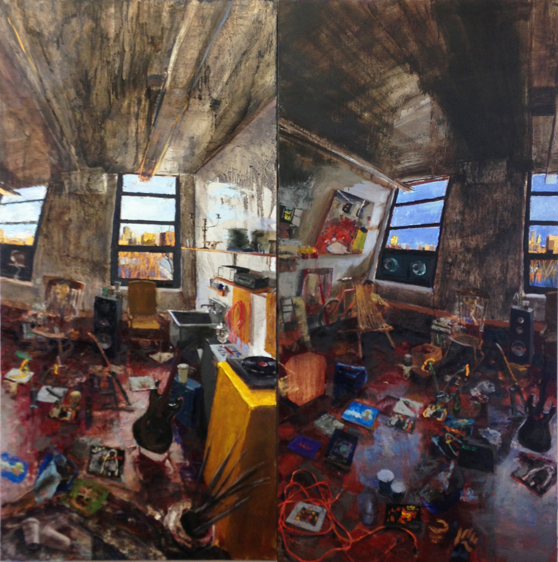 Late Afternoon and Later Afternoon, Boston,  2013 oil on linen, 75 x 72 inches