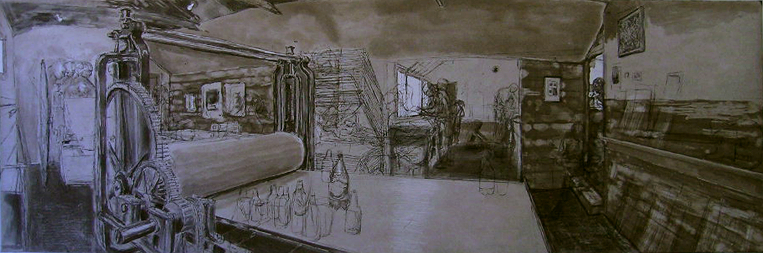 Wingate Studio with Aldo's Press (Threnody for R.L. Burnside),  2005 etching, ed. 2/15, 12 x 36 inches