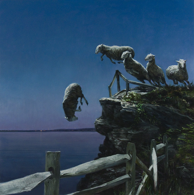 When the Wind is Blowing inthe East,  2011 oil on linen on aluminum panel, 36 x 36 inches