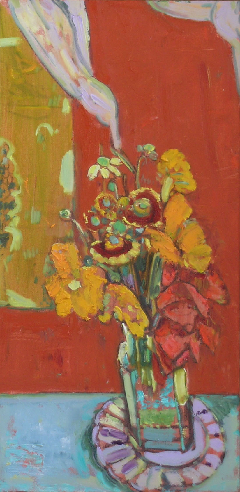 August Flowers, 2005 oil on canvas, 24 x 12 inches