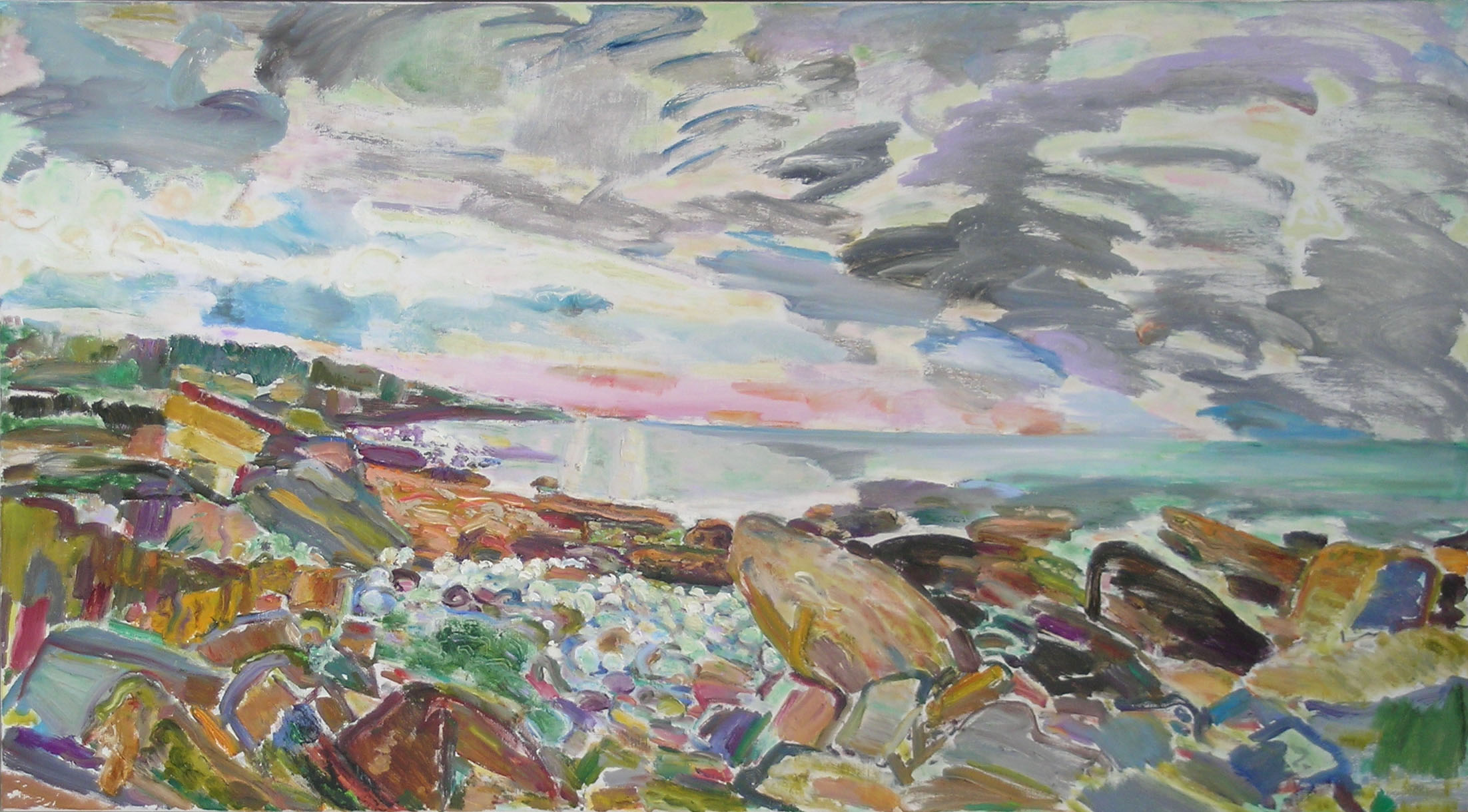 Cathedral Rocks, 2003 - 05 oil on canvas, 30 x 54 inches