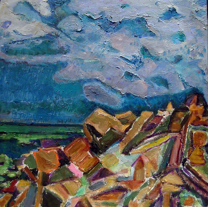 Moving Clouds, 2001 - 03 oil on canvas, 12 x 12 inches