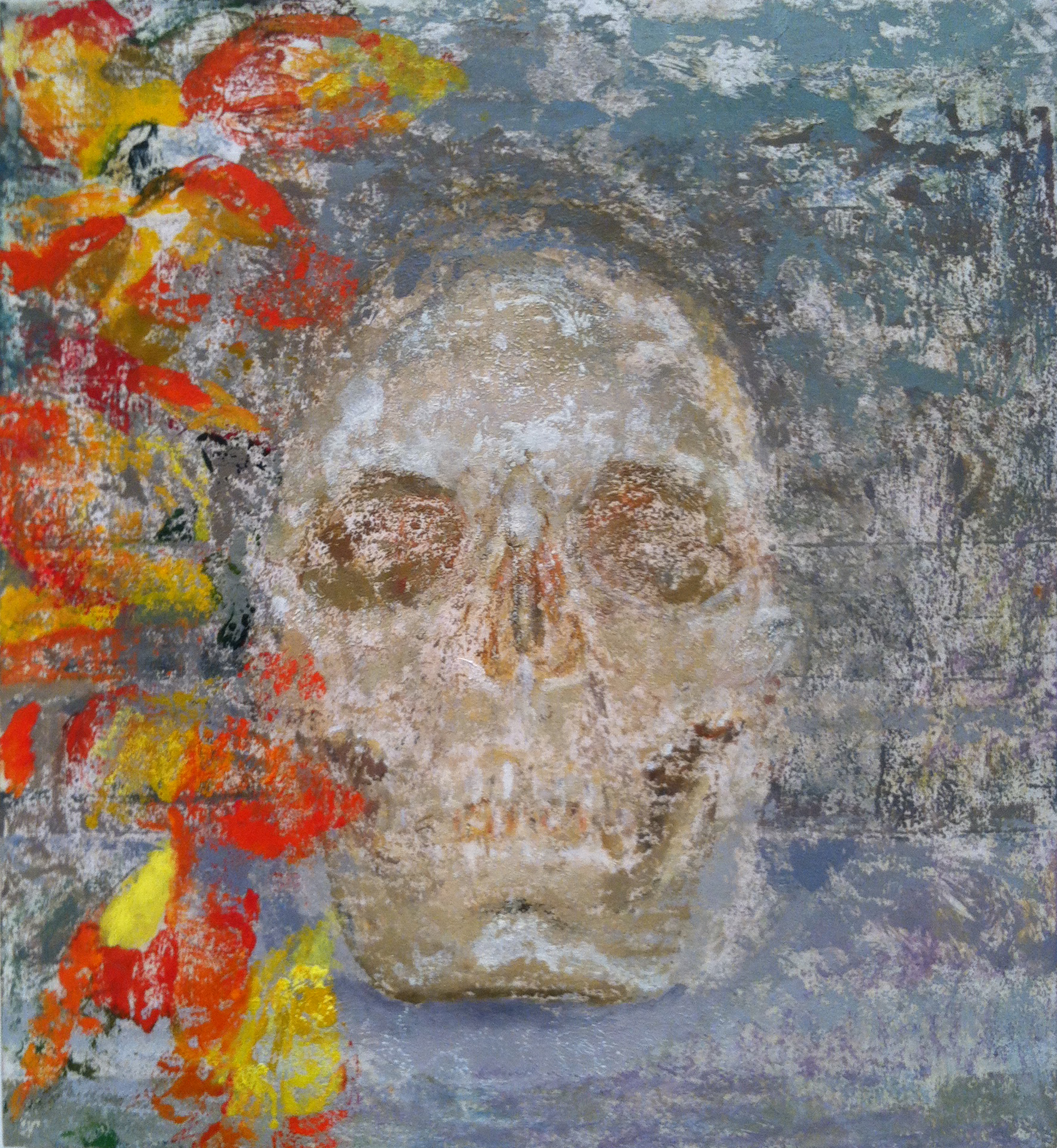 Flowery Skull , 2012 oil on panel, 13 x 12 inches