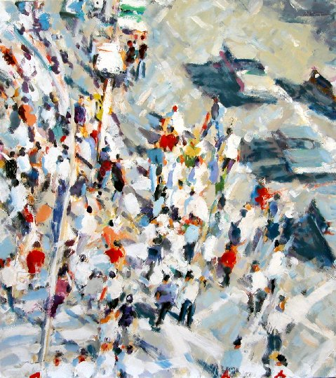 Big Crowds,  2009 oil on linen, 40 x 36 inches