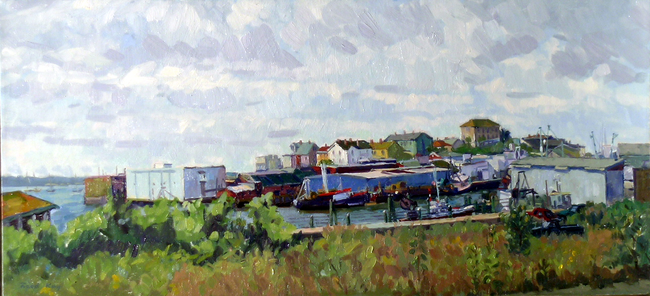 Fort Square, Clearing Clouds,  2000 oil on canvas, 14 x 30 inches
