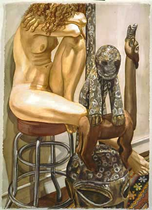 Nude with Yoruba Headdress, 1994 watercolor on paper, 41 1/4 x 29 1/2 inches