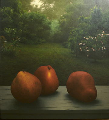 Three Pears,  1994 oil on canvas, 41 3/4 x 38 inches