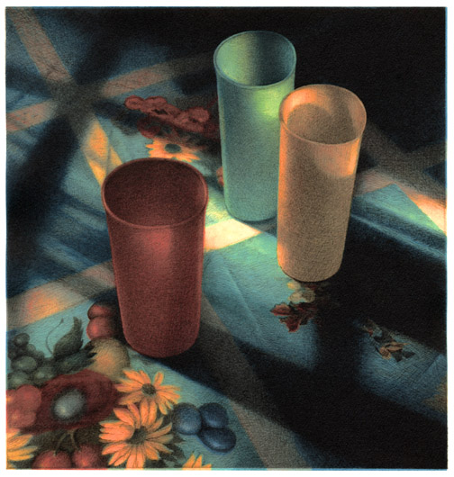 Cups in Sunlight,  2005 pigment ink and intaglio print, 8 1/2 x 8 inches edition of 30