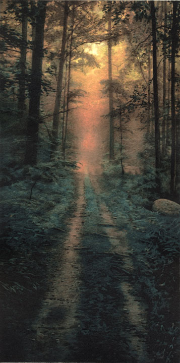 Woods at Sunrise,  2005 pigment ink and intaglio print, 16 x 8 inches edition of 30