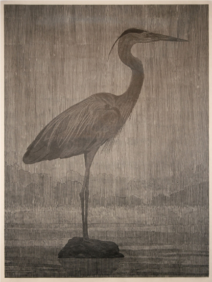 Bird I,  2009 woodcut on paper, 64 x 49 inches