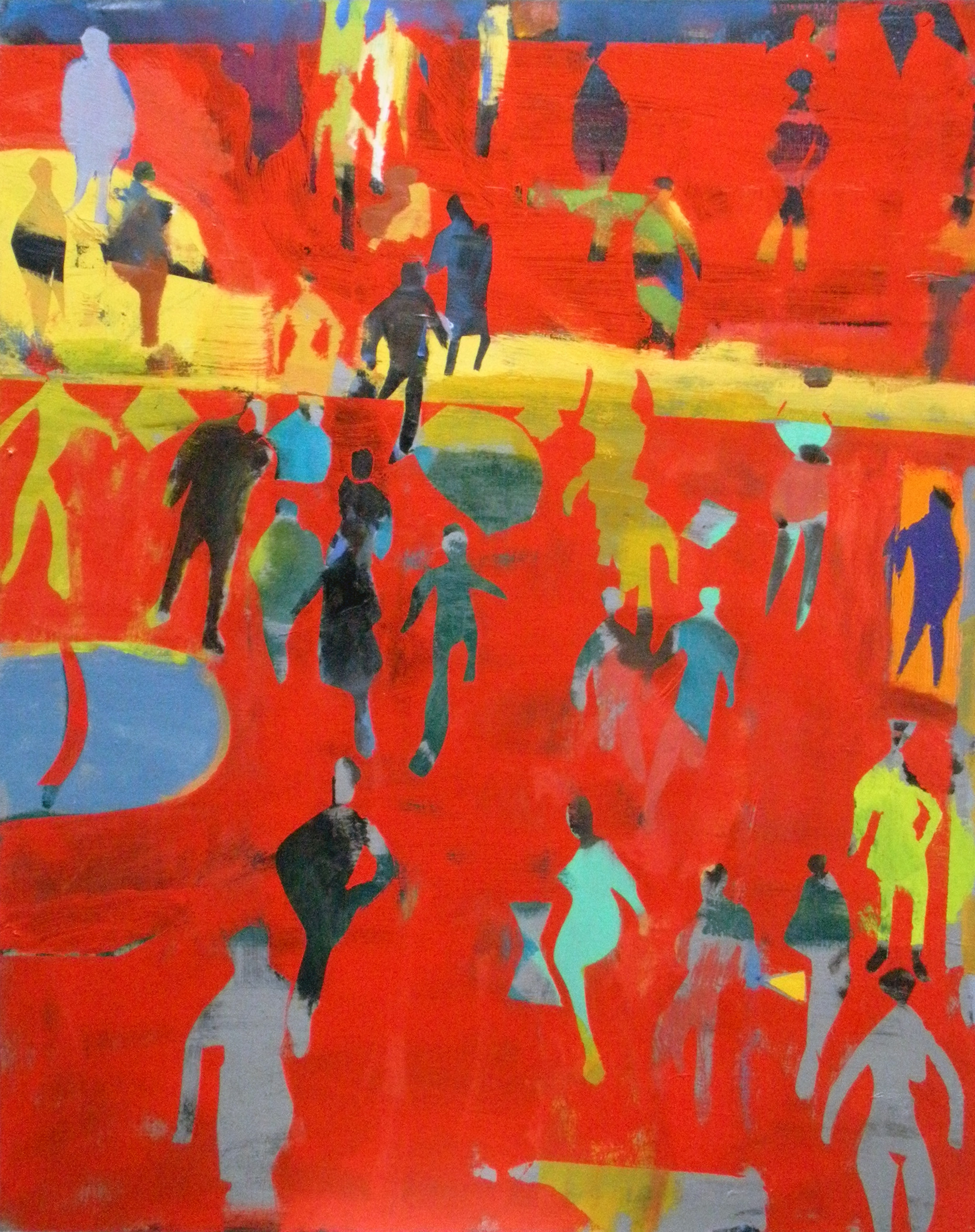 Vertical Crowd on Red Ground,  2014 oil on linen, 50 x 40 inches