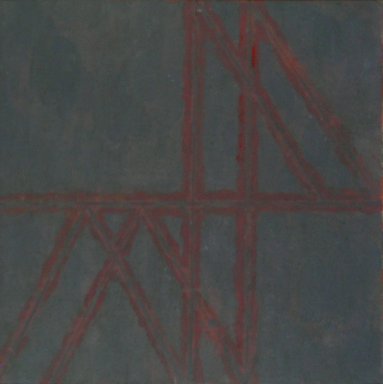 Mist Structure,  1975 oil and sand on canvas, 16 x 16 inches
