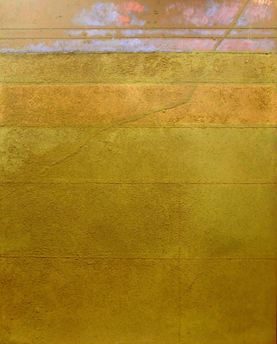 Measured Horizon,  1971 oil and sand on canvas, 50 x 40 inches